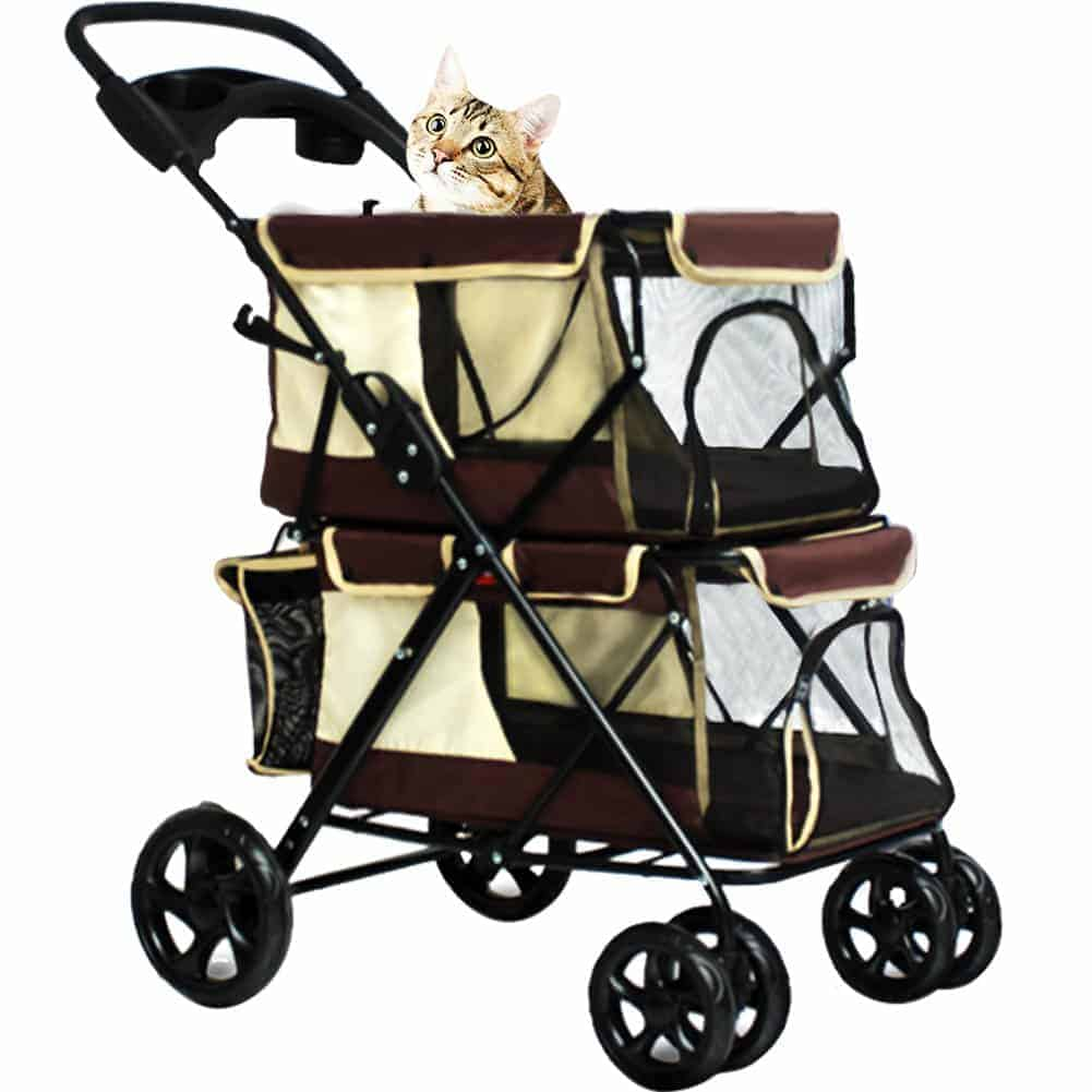 WINGOFFLY Double-Deck 4 Wheels Pet Dogs Cats Stroller
