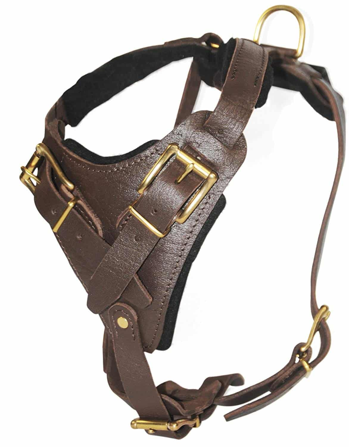 Brass-Belt-Style-Buckles-Leather-Dog-Harness