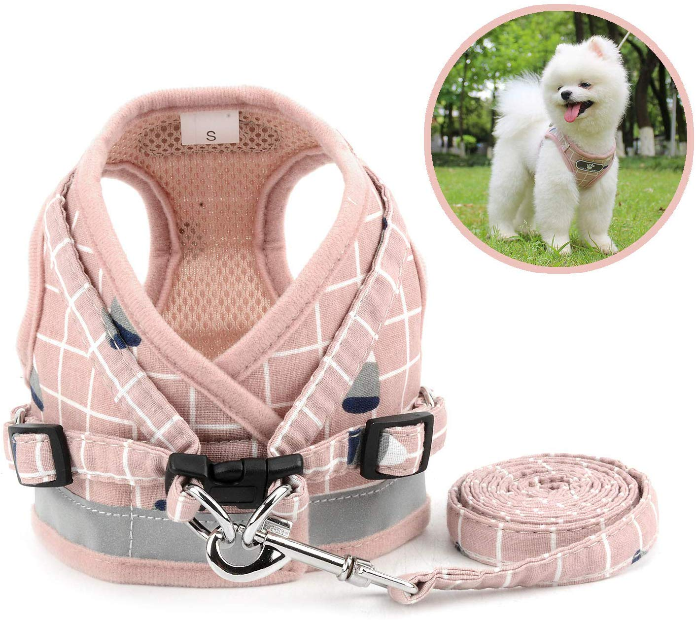 Zunea Small Dog Harness and Leash Set Adjustable Reflective Step-in Harnesses