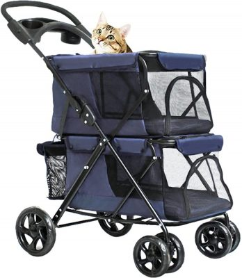 WINGOFFLY double decker dog stroller