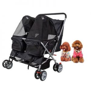 Dporticus 4 Wheel Pet Stroller Foldable Two-Seater